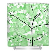 Soft Green Leaves Melody Shower Curtain