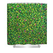 Soft Green With Pink  Shower Curtain