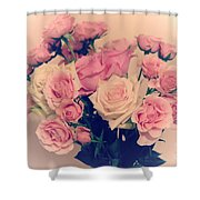 Soft Pastel Roses Shower Curtain