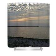 Soft Silver Sunset Shower Curtain