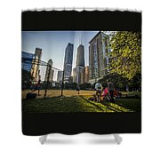 Softball By Skyscrapers Shower Curtain