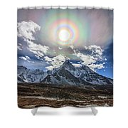 Solar Corona Above The Ama Dablam Shower Curtain