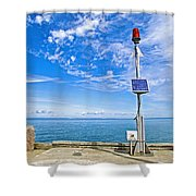 Solar-powered Light In Halls Harbour In Nova Scotia-canada Shower Curtain