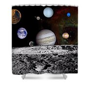 Solar System Montage Of Voyager Images Shower Curtain by Movie Poster Prints