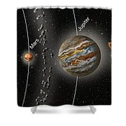 Solar System Orbits, Illustration Shower Curtain