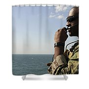 Soldier Instructs Small Boat Maneuvers Shower Curtain