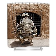 Soldier Searches A Compound Shower Curtain by Stocktrek Images