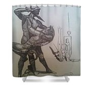 Soldier Slaying A Demon With Abstract Echo Shower Curtain