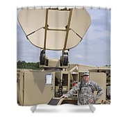 Soldier Stands Next To A Satellite Shower Curtain