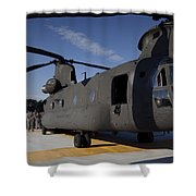 Soldiers Being Briefed Behind A Ch-47 Shower Curtain