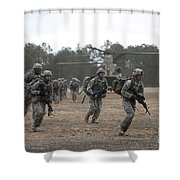 Soldiers Exit A Ch-47 Chinook Shower Curtain