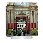 Soldiers In The Outer Court Of Grand Palace Of Thailand In Bangkok Shower Curtain