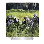 Soldiers Maintain Security At Fort Shower Curtain