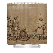 Soldiers Relaxing, 1844 Wc & Gouache On Paper Shower Curtain