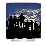 Soldiers Watch Troop Movements At Fort Shower Curtain