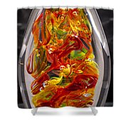 Solid Glass Sculpture - 13e8 - Extreme Flames Shower Curtain