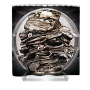 Solid Glass Sculpture 13r9 Black And White Shower Curtain
