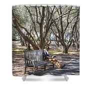 Solitaire Reading Shower Curtain