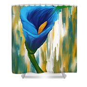 Solitary Blue Shower Curtain