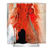 Solitary Man - Red And Black Abstract Art Shower Curtain