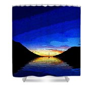 Solitary Sailboat Sunrise Shower Curtain by Anne Mott