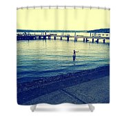 Solitary Swimming  Shower Curtain