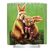 Some Bunny Loves You Shower Curtain by Linda Simon