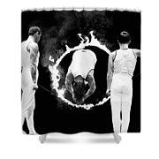 Somersault Through Flames Shower Curtain