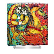 Sonata For Two And Unicorn Shower Curtain by Albena Vatcheva