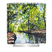 Sonnenaufgang Der Flusse Shower Curtain