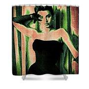 Sophia Loren - Green Pop Art Shower Curtain by Absinthe Art By Michelle LeAnn Scott