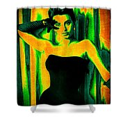 Sophia Loren - Neon Pop Art Shower Curtain