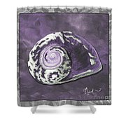 Sophisticated Coastal Art Original Sea Shell Painting Purple Royal Sea Snail By Madart Shower Curtain