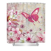 Sophisticated Elegant Whimsical Pink Butterfly Floral Flower Art Springs Joy By Megan Duncanson Shower Curtain by Megan Duncanson