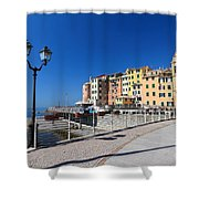 Sori Waterfront. Italy Shower Curtain