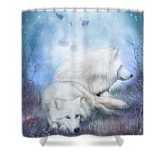 Soul Mates - White Wolves Shower Curtain