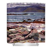 Sound Of Iona  The Burg From The North Shore Shower Curtain