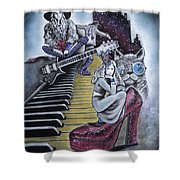 Sounds Of The 70s Shower Curtain by Carla Carson
