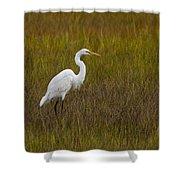 Soundside Park Topsail Island Egret Shower Curtain