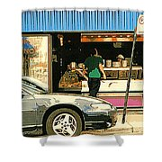 Soups's On Montreal's Favorite Fast Food Road Side Attractions Rue St. Denis Resto Urban City Scene  Shower Curtain