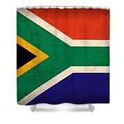 South Africa Flag Vintage Distressed Finish Shower Curtain