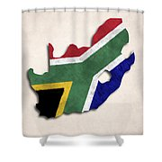 South Africa Map Art With Flag Design Shower Curtain
