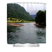 South America - Chile River Shower Curtain