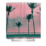 South Beach Miami Tropical Art Deco Five Palms Shower Curtain