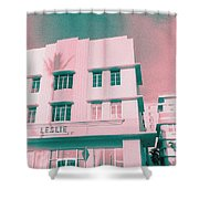 South Beach Miami Leslie Tropical Art Deco Hotel Shower Curtain