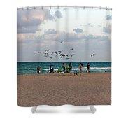 South Beach Scene Shower Curtain