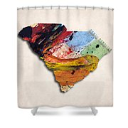 South Carolina Map Art - Painted Map Of South Carolina Shower Curtain