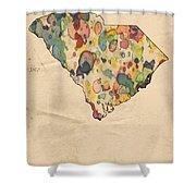 South Carolina Map Vintage Watercolor Shower Curtain