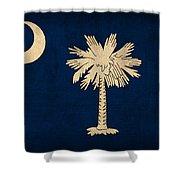 South Carolina State Flag Art On Worn Canvas Shower Curtain