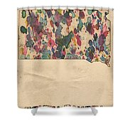 South Dakota Map Vintage Watercolor Shower Curtain